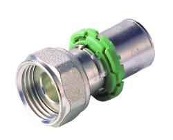 762BDX-02 Штуцер с накидной гайкой и плоским кольцом латунь  16x2 - 3/4 Comap SKINPress