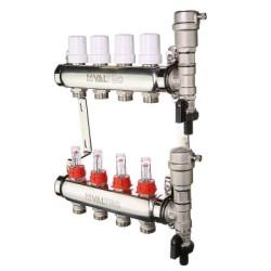 """Коллекторный блок Valtec из нержавеющей стали со встроенными расходомерами и термостатическими клапанами 1"""", 4 x 3/4"""""""