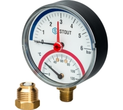 """Термоманометр STOUT аксиальный, корпус Dn 80 мм 1/2"""" (с авт. запорным клапаном) 4 бар"""